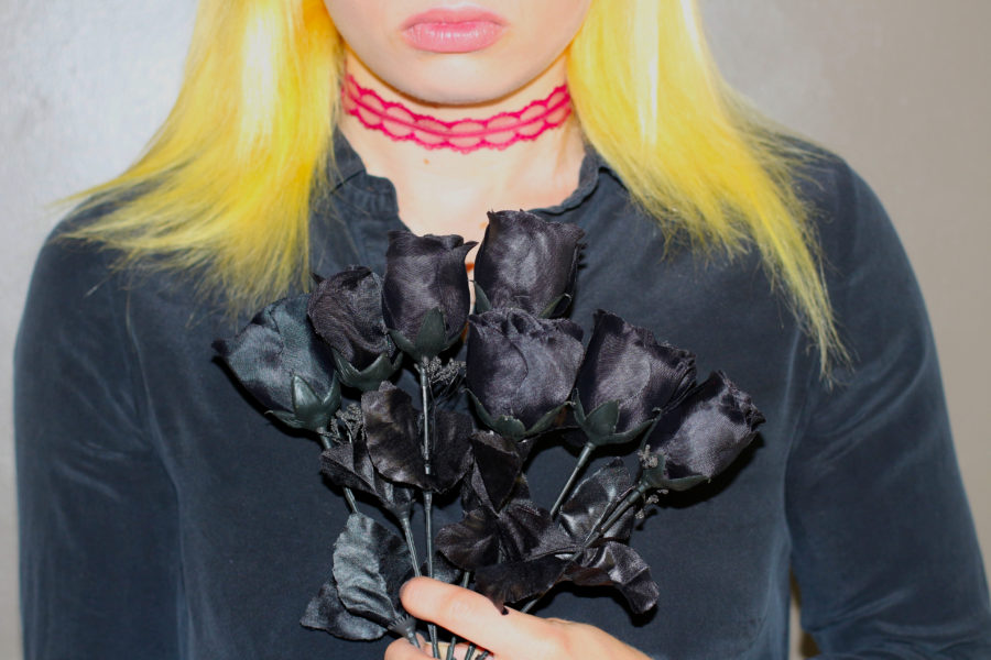 Autumn Christian with black roses